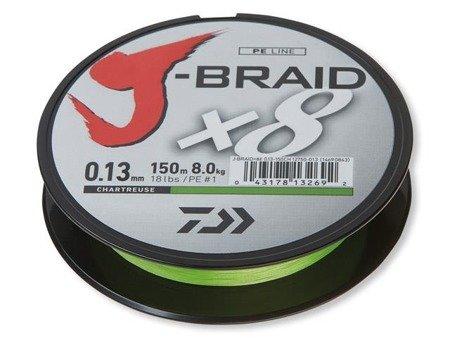 Plecionka Daiwa J-BRAID X8 0.13MM / 150M / CH